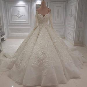 Luxe 2019 Nouveau Designer Plus Taille Robe De Bal Robe De Mariée Manches Longues Perles Paillettes Formelle Robe De Mariée Robe De Mariée vestito da sposa