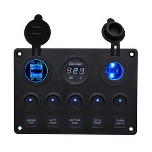 CS-666A1 Car Charger Yacht e auto interruttore combinato rotondo switch 5-bit Dual USB interruttore pannello di controllo combinazione caricabatteria per auto voltmetro
