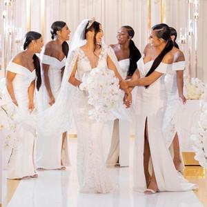 С плеча белый атлас длинные платья невесты 2020 Ruched Сплит развертки поезд свадебные платья подружки невесты