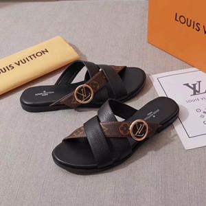 2019 Top Designer Womens Horizon Luxo Chinelo de couro marrom vestido Chinelos Senhora Marca Grande Slides Moda Sandália ocasional com saco de pó