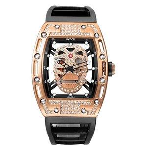 SKONE Richard Piraten-Schädel-Mode-Art-Mann-Uhr-Silikon-Quarz-Luminous Watche Militär Wateproof Skeleton Armbanduhr für Mann Geschenk