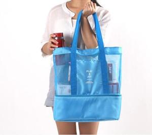 Portable pranzo all'aperto Borse Double Deck isolata termica Lunch Box Tote Cooler Bag Bento custodia da viaggio per picnic Deposito Borse GGA3242