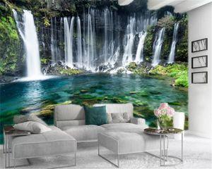 Custom 3d Landscape Wallpaper Large Fantasy Landscape Waterfall Green Pool Beautiful Interior Decoration Silk Mural Wallpaper