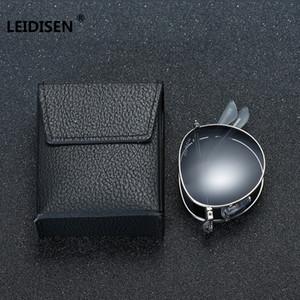 Leidisen Marca Gafas de sol portátil plegable plegable polarizado mujeres de los hombres de moda de la vendimia de conducción espejo Gafas
