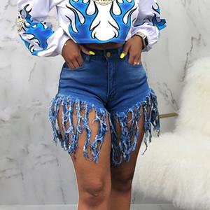 Weigou кисточка Denim шорты Женщина 2020 Упругих высокой талия хлопок Jean Short Sexy Club Denim шорты