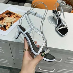 New Arrivals 2020 Patent Leather Thrill Heels Women Unique Designer Pointed toe Dress Wedding Shoes Sexy shoes Letters heel Sandals