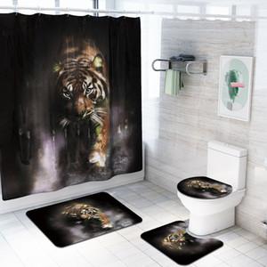 4 PC를 / 세트 욕실 액세서리 동물 늑대, 호랑이, 공작, 사자 샤워 커튼 욕실 러그 세트 화장실 커버 목욕 매트 세트 커튼