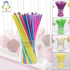 100pcs Lot Candy Color Paper Lollipop Sucker Sticks for Cake Pops Candy Popcake Stick 10*3.5cm Home Baking Supplies GYH