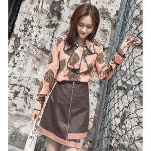New Summer Women Sweet Floral Print Slim Camicetta + Elegante A Line Irrugular Hem Mini Gonna in pelle Set Donna Party Casual Suit Z95