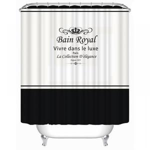 Royal Crown Letter Print Shower Curtain Waterproof Fabric Shower Curtain Bathroom Curtain Supplies Home Decor