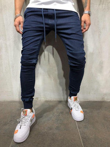 Vaqueros ocasionales de los deportes del basculador de los pantalones vaqueros del resorte elástico de la cintura del Athletic diseñador Pantalones Pantalones para hombre