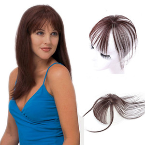 Clip 3D in Bangs Invisible Seamless Simulated Hand Weaving Human Hair Topper Extension Natural nero femminile Short Bangs