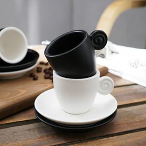 Espresso Cup Cerâmica Italian Coffee pequeno Preto Egg Forma 90ML Pires Threaded Expresso Cups Matte Glossy Porcelain Fincan