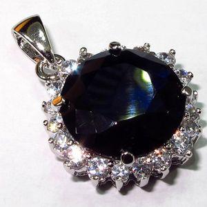 Shunxunze 약혼 결혼식 펜던트 쥬얼리 여성용 크리스마스 Dropshipping Best Sell Dark Blue Cubic Zirconia Rhodium 도금 R143