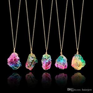 Pedra bonita do arco-íris lindamente colar de pingente de cristal de quartzo ponto de cura chakra colar de rocha cor colar de corrente de ouro