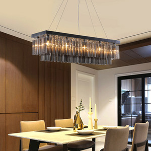 Modern crystal chandeliers light smoky gray luxury rectangle pendant lights chandelier lighting dinning bedroom led cristal hanging lamps