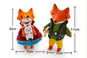 2PCS SET Lovely Fox Families Felt DIY Doll Handmade Sewing Cloth Craft Toys for Children Gift Home Decoration Felt DIY Package