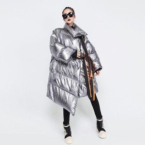 النساء الشتاء فضية كبيرة الحجم طويل فقاعة معطف أشرطة الصلبة الدافئة سترة السيدات سترة واقية نمط لباس خارجي