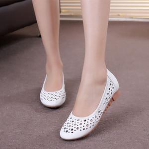 Fairy2019 Zhenpi Xia женская обувь с плоским дном выдалбливают Reverent сандалии белая медсестра Dan Xiezi будет обувь для беременной женщины