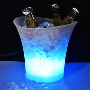 5L حجم البلاستيك أدى الجليد دلو تغيير لون، 5L يمنع الملاهي الليلية LED تضيء الجليد دلو الحانات الشمبانيا والنبيذ البيرة دلو