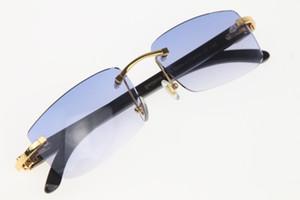 Frete grátis sem aro dos óculos de sol unisex Preto Genuine chifre de búfalo chifre sem aro dos óculos de sol quente Glasses New Lens Azul Frame Size: 56-18-140mm