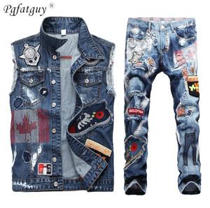 Personnalité Patch Gilet Jeans 2 Piece Set estampé à chaud brodé Hommes Denim Vest + multi-badges trou Slim Straight Jeans Ensembles