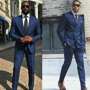 Mens Suits casamento Abotoamento Azul marinho Noivo Smoking repicado lapela Groomsmen Wear Prom Wear 2 Pieces Best Man Blazers Noivo Vestido