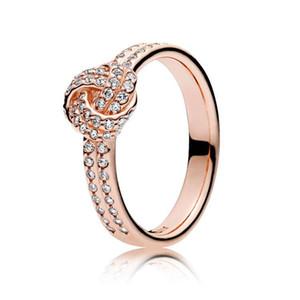 Pandora Gerçek 925 Gümüş Lüks Moda Düğün Hediye Ring için YENİ Bayan 18K Rose Gold cz Elmas HALKASI Seti Orijinal Kutusu