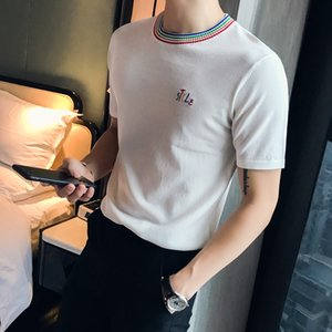 Letter Embroidery Knitted Short Sleeve T-Shirt Men 2019 Summer Tee Shirt Homme Slim Fit Round Collar Solid Bottom Men T Shirts T200528