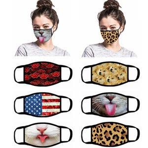 Una cara con la máscara de dibujos animados Impreso reutilizable EE.UU. Bandera 3D animal de leopardo de impresión del polvo anti lavable exterior de la boca cubierta Máscaras LJJA4083