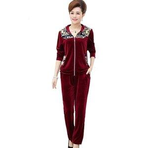 Kadın Spor Suit Rahat fermuar Kazak Altın kadife 2 Parça Set Yeni Kadın Spor Takım Elbise Bahar lady Suit Setleri