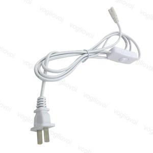 T5 T8 conector do cabo 6 pés 1,800 milímetros de extensão 2Pin 0,75 milímetros cabo de alimentação com interruptor plug-nos PVC Fio Para Integrado Led Tubes DHL
