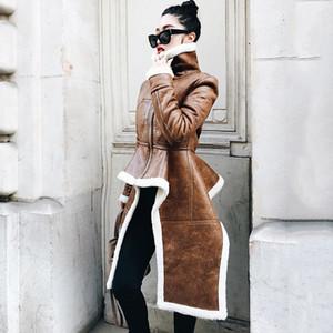 Новое поступление нерегулярной кожаной куртки плюс размер зимний длинный меховой меховой шерсти женщин корейская мода одежда