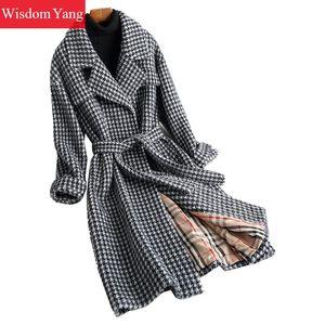 Hiver chaud noir pied de poule à carreaux long manteau vestes épais flock femmes élégant manteaux bureau dames ceinture manteau survêtement