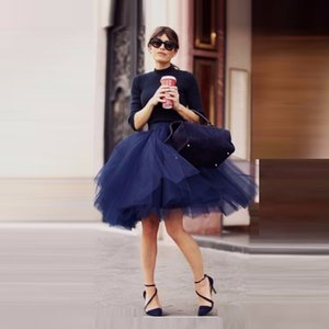 Free Shipping Dark Blue Short Tulle Skirt 45cm Length Custom Knee Length Saia Midi Skirts for Women Fashion Ball Gown Tutu Skirt