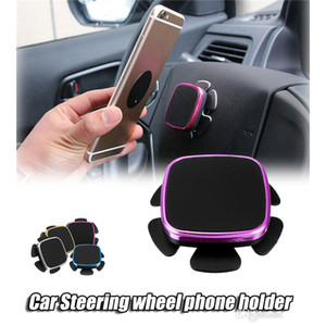Metal steering wheel Magnetic car Phone Holder For iPhone 8 Samsung cell Phone Paste bracket Safer Driving Dashboad Stand for GPS devices