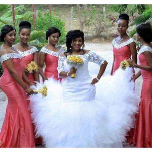 Коралловые Длинные Русалка Платья Невесты 2019 Новый С Плеча Длина Пола Формальные Свадебные Платья Невесты Платье На Заказ