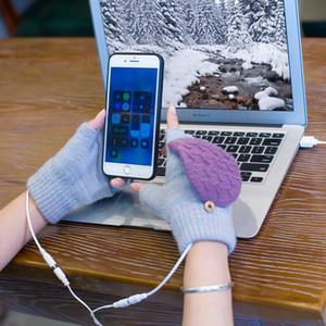 Kış USB şarjı Eldiven Erkekler Kadınlar Yün Elektrikli Eldiven Isıtma Kış Örgü Termal Sıcak femal Kızlar Eldiven Noel Hediyeler LJJA3518-6