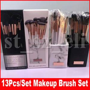 العلامة التجارية Signature Rose Gold 13pieces Brush Set Makeup Brushes للوجه ظلال العيون بودرة ظلال العيون مع مستحضرات التجميل
