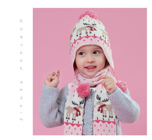 New pink antler jacquard ear cap for autumn and winter Baby's cotton knit hat for girls and children