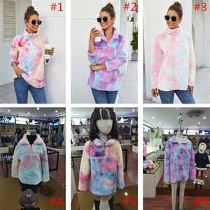 Le donne Gradient Pullover Sherpa colorato felpa a maniche lunghe Zip Fleece peluche tie-dyed Outwear Felpe Arcobaleno Tops Giacche