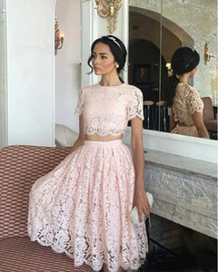 Real picture african Styles Arabic short homecoming Dresses two pieces full lace Formal Dresses for Party Evening Gowns cheap sell
