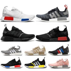 Qualidade NMD R1 Mulheres Homens altos Running Shoes Classic Blue OG Red Trovão Tri-cinza Japão branco preto Formadores Runners Sports Sneakers off