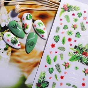 1pc 3D Tırnak Sticker Tropical Beach Island Stil Yaprakları Ve Melek Çiçek Desen Tırnak Sanat Transferi Çıkartma Çıkartmaları Dekorasyon