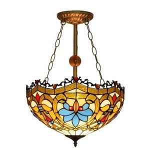lustre européen verre rétro créatif Tiffany vitrail salon salle à manger restaurant bar réception Lustre TF006