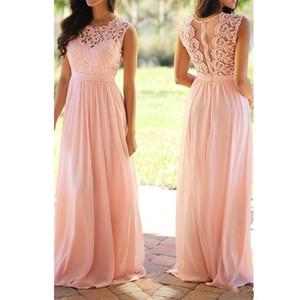 2019 Nuevo Melocotón Rosa Vestidos de dama de honor baratos Longitud del piso de gasa Vestidos de dama de honor plisados Vestidos largos de fiesta de boda