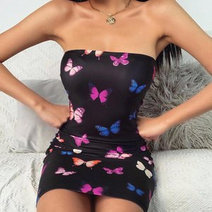 Vêtements Adolescent Vêtements imprimé papillons bretelles Mini Robes Femmes Blackless Desginer Robe de vacances Mode Femmes