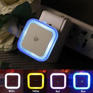 الولايات المتحدة البسيطة LED 0.5W ليلة ضوء التحكم الاستشعار السيارات الطفل مربع مصباح غرفة نوم AC 110-220V