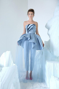 Sky Blue Strapless Evening Jumpsuit with Overskirt 2020 Ruffles Peplum Matte Stain Arabic Dubai Occasion Prom Dress Pant Suit