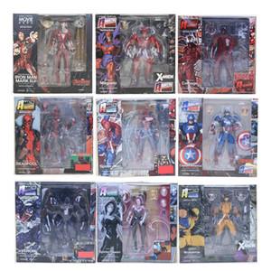 Revoltech Series No.001-007 Marvel Avengers Deadpool Spiderman Venom ولفيرين كابتن أمريكا ماغنيتو نموذج لعبة عمل الشكل Q190429